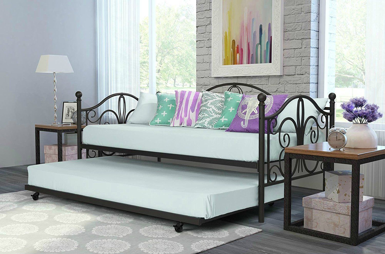 Trundle Bed Daybed And Metal Frame Student Sleep Number Twin For 2 Bronze Want To Know More Click On The Image