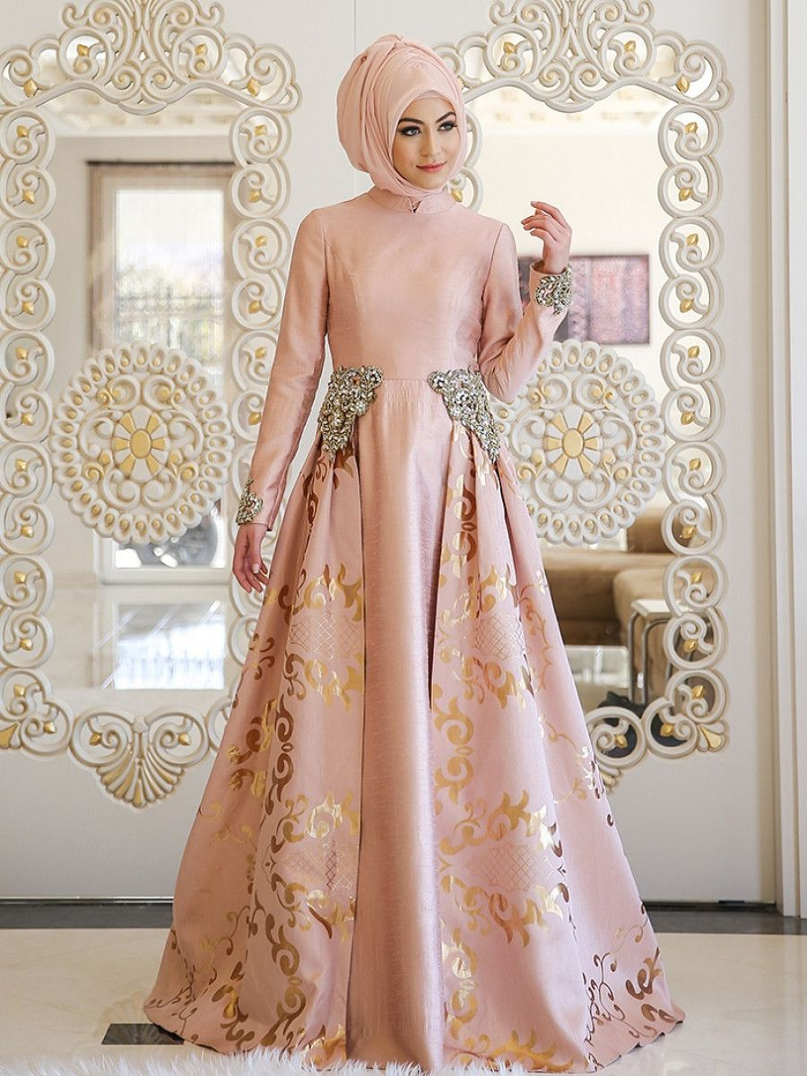9331f43bdc3 Pink Fully Lined Crew neck Muslim Evening Dress Minel Ask in 2019 ...