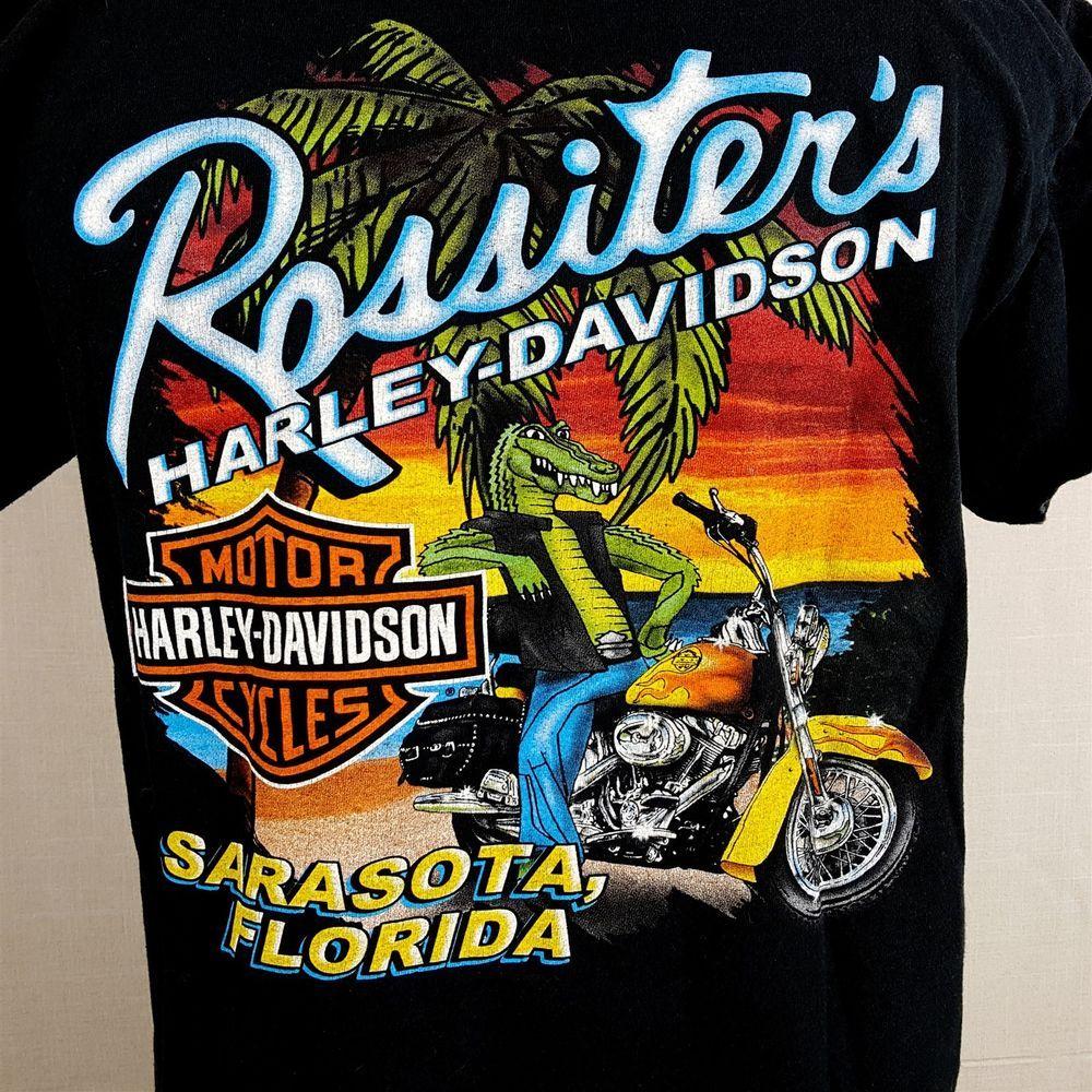 Harley Davidson Rossiter S Small Black T Shirt Sarasota Fl Alligator Biker