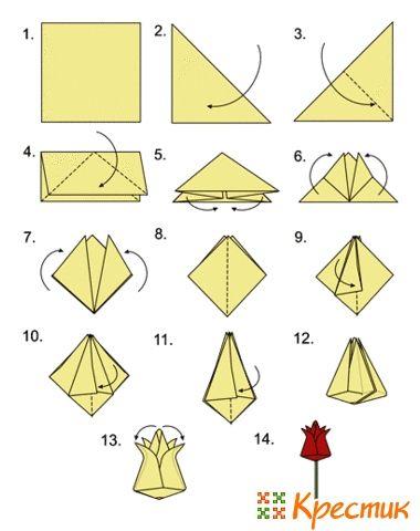 Оригами тюльпан из бумаги схема для начинающих фото 737