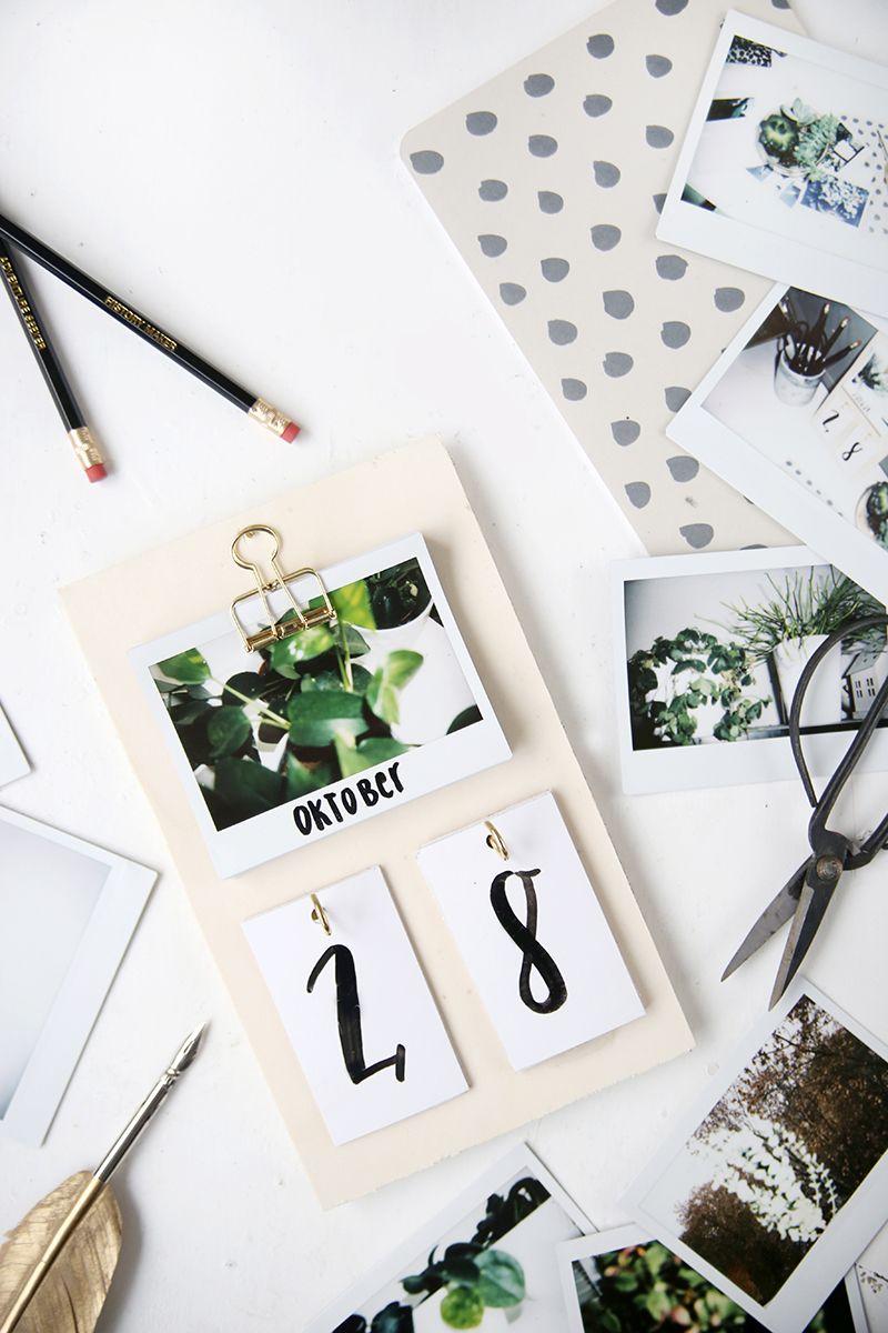 DIY} Schreibtisch-Kalender mit Instax-Fotos selbstgemacht ...