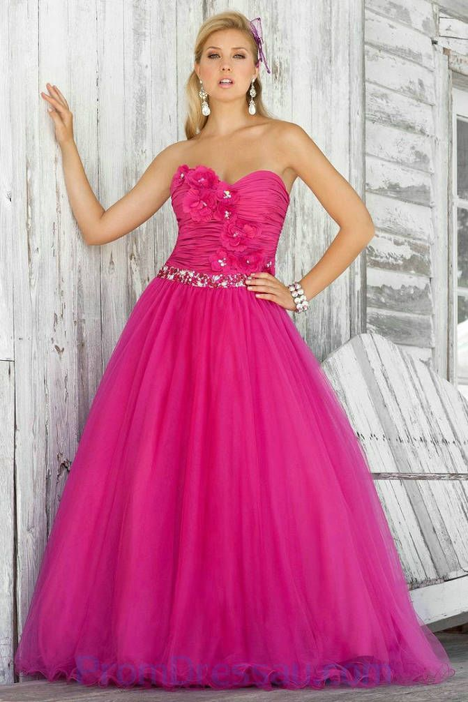 Floral Trimed Sweetheart Puffy Pink Nice Prom Dresses Designer ...