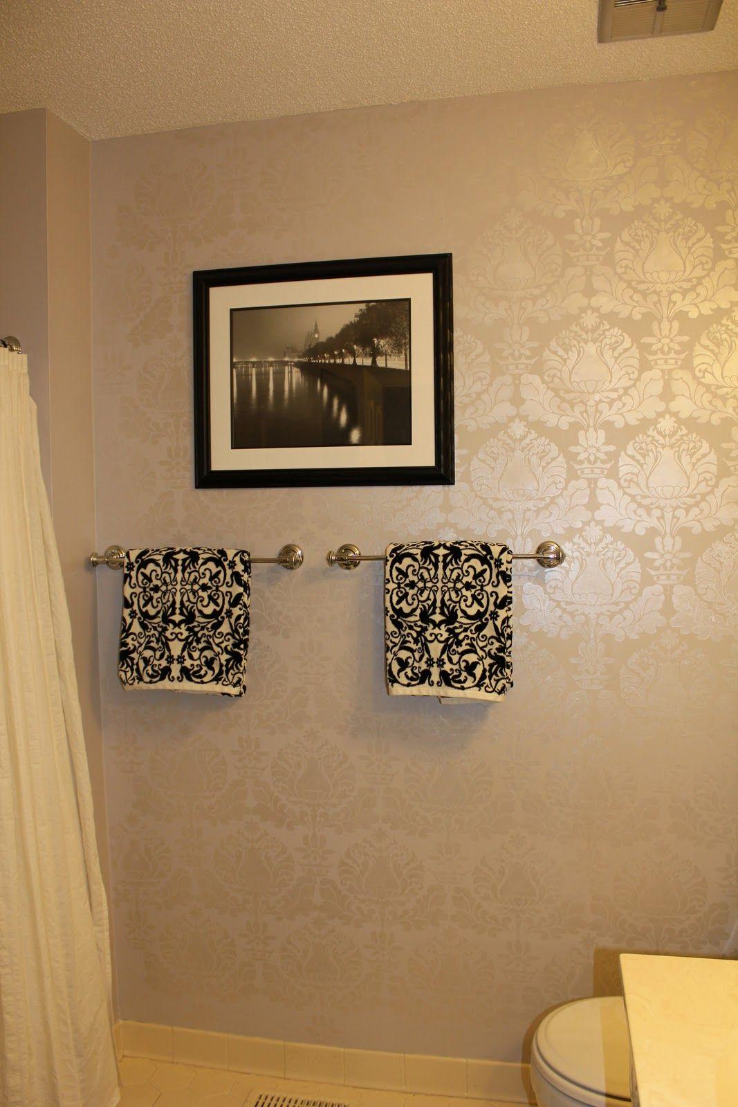 Wall Stencils For Painting Bathroom. Peahen Pad Guest Bathroom Wall Stencil