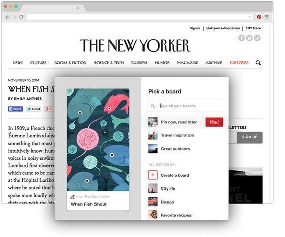 Botón de Pinterest de navegador para Chrome Guarda ideas creativas de la Web con un solo clic Simplemente haz clic en lo que encuentres en otro sitio que quieras guardar. ¡Pruébalo!: