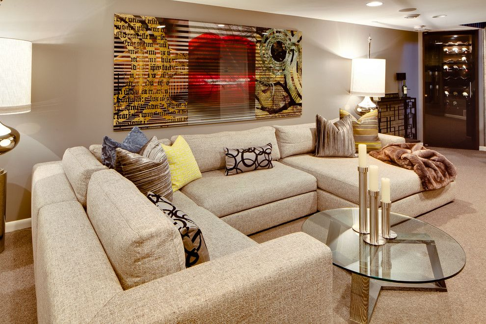 homey ideas modular coffee table. Modular Sectional Sofa Basement Contemporary with Artwork Beige Glass Coffee  Table Natural Wood