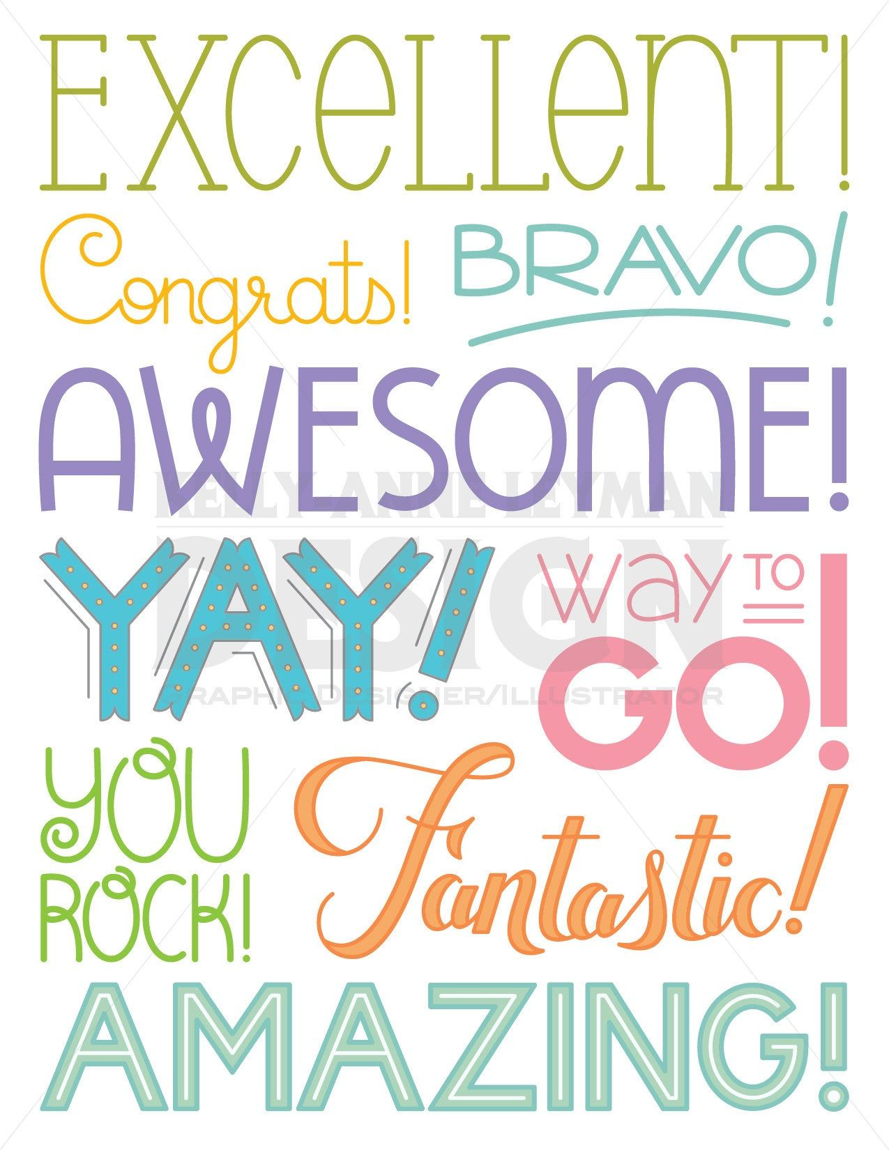 Teacher Clipart, Achievement Word Clipart, Encouragement
