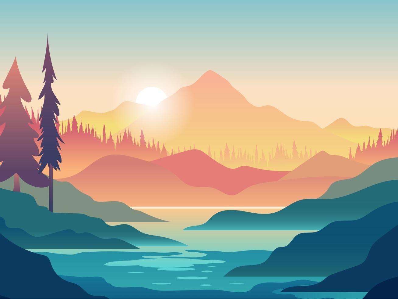 Kayaking First Person View Illustration Desktop Wallpaper Art Landscape Art Art