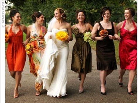 bridesmaid dresses autumn colours - Fall Colored Bridesmaid Dresses