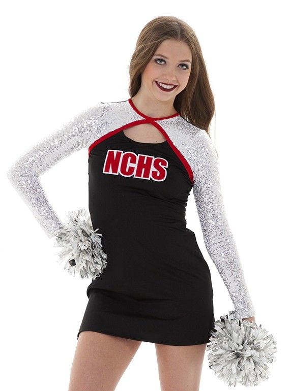 740ef6c5440c Long sleeve sparkly dance team uniform dress with cut out at neck.  Customizable lettering option. Change to any color!