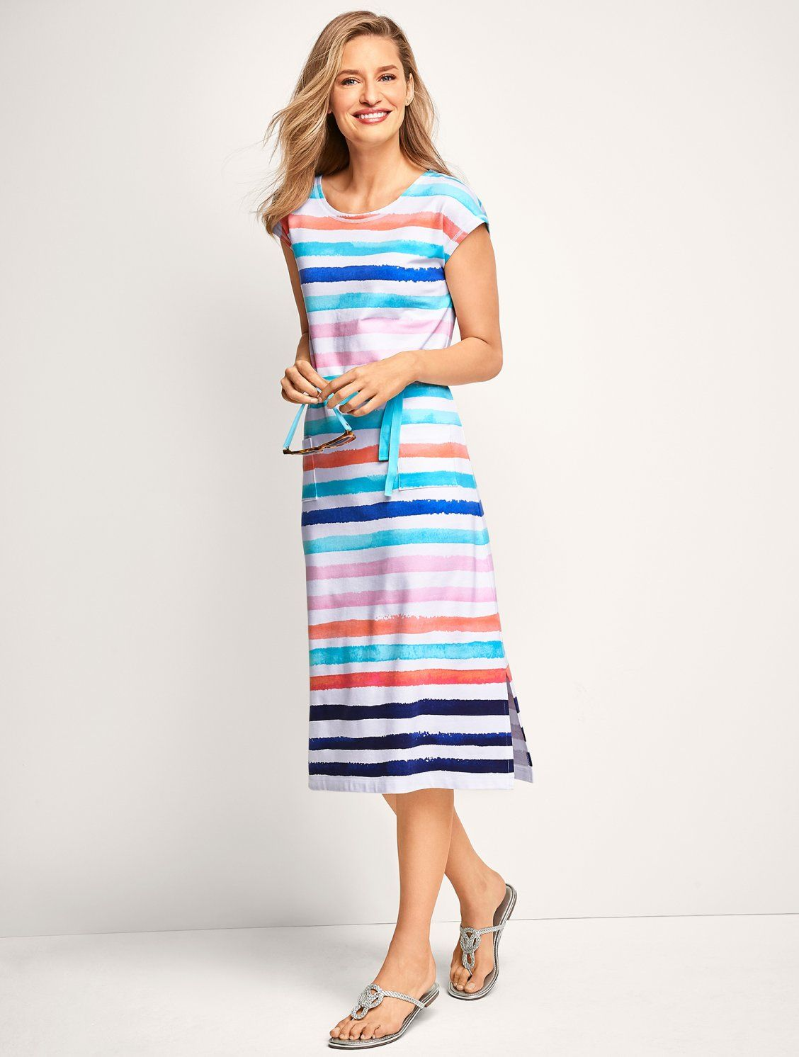 Painterly Stripes Give This Ultra Comfortable Midi Dress Artistic Flair Mix With Your Favorite Sandals And You Re Ready Striped Midi Dress Dresses Midi Dress [ 1492 x 1128 Pixel ]