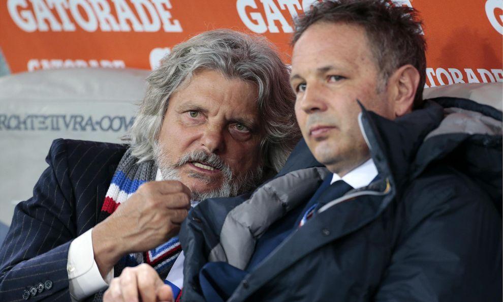 Il presidente blucerchiato Massimo Ferrero durante il match Roma-Sampdoria
