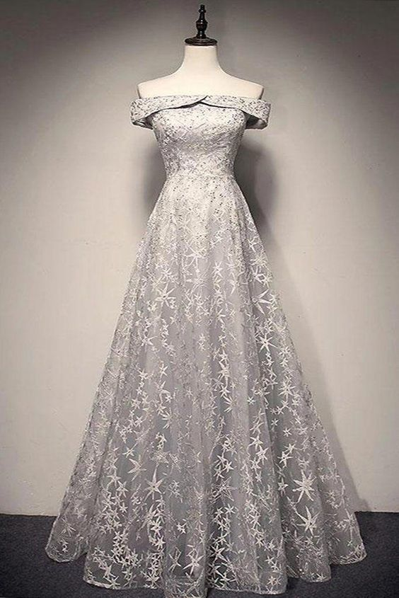 Gray Lace Off Shoulder Strapless Long A Line Evening Dress, Long Senior Prom Dress With Sleeve
