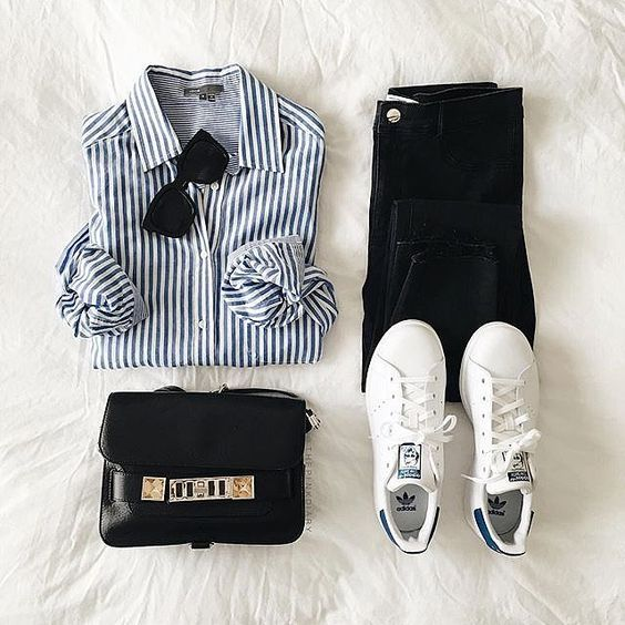 acheter populaire 7e9ea 5c91d Casual look for spring : striped shirt denim Stan Smith ...