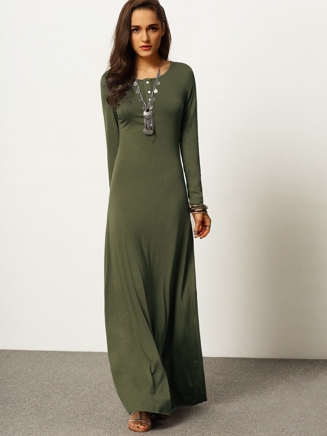 7aaead38eb Army Green Long Sleeve Maxi Dress | Fall•Winter Wear | Dresses, Maxi ...