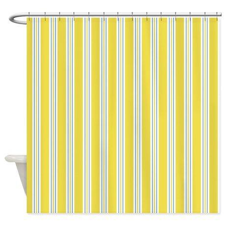 Yellow Awning Stripe Shower Curtain on CafePress.com