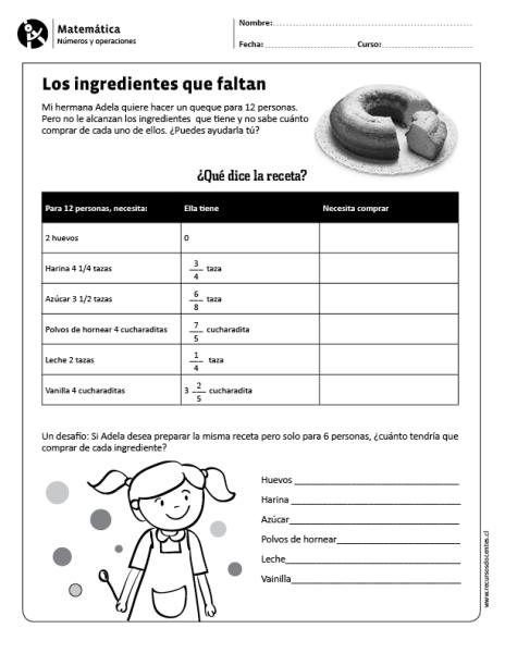Los Ingredientes Que Faltan Math Lessons Math Education