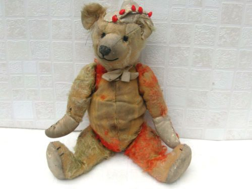 Vintage-Harlequin-Teddy-Bear-with-Ladybird-Hat-RARE