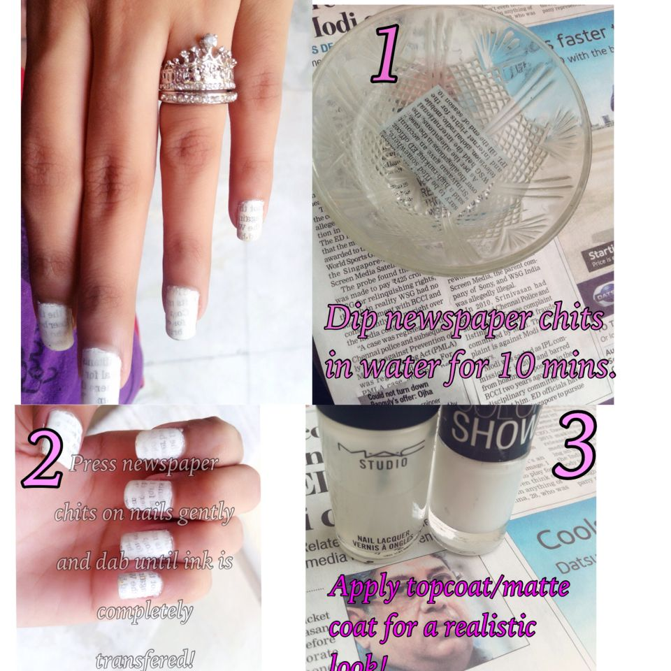 DIY newspaper nails with WATER ❤ | DIY newspaper nails with water ...