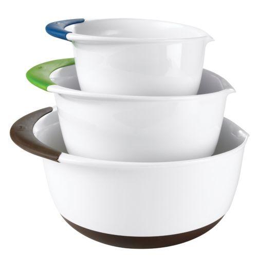 Mixing Bowl 3-Piece KITCHEN COUNTERTOP Set with SOFT GRIP Handles EZ POUR SPOUT