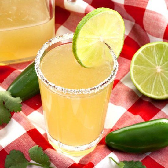 Cilantro Jalapeno Limeade - a refreshing drink that is sweet, fruity and earthy, with just a hint of spiciness.