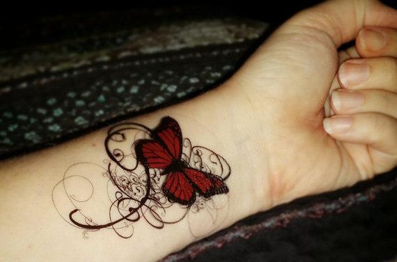 e0cce592c8f4c Temporary tattoo gothic tattoo butterfly tattoo swirls deep reds and black  elegant fake tattoo