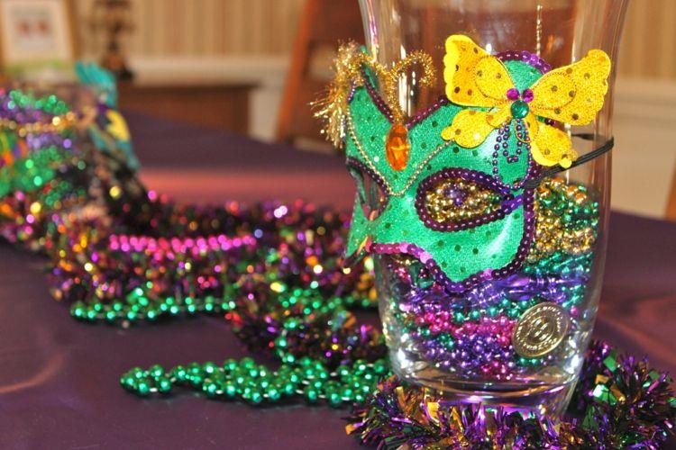 Vase Karneval Tischdeko Perlenketten Schmetterling Maske Carnival