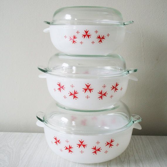 Kitchen Accessories China: Set Of Three 1960s Sputnik Phoenix Casserole Dishes