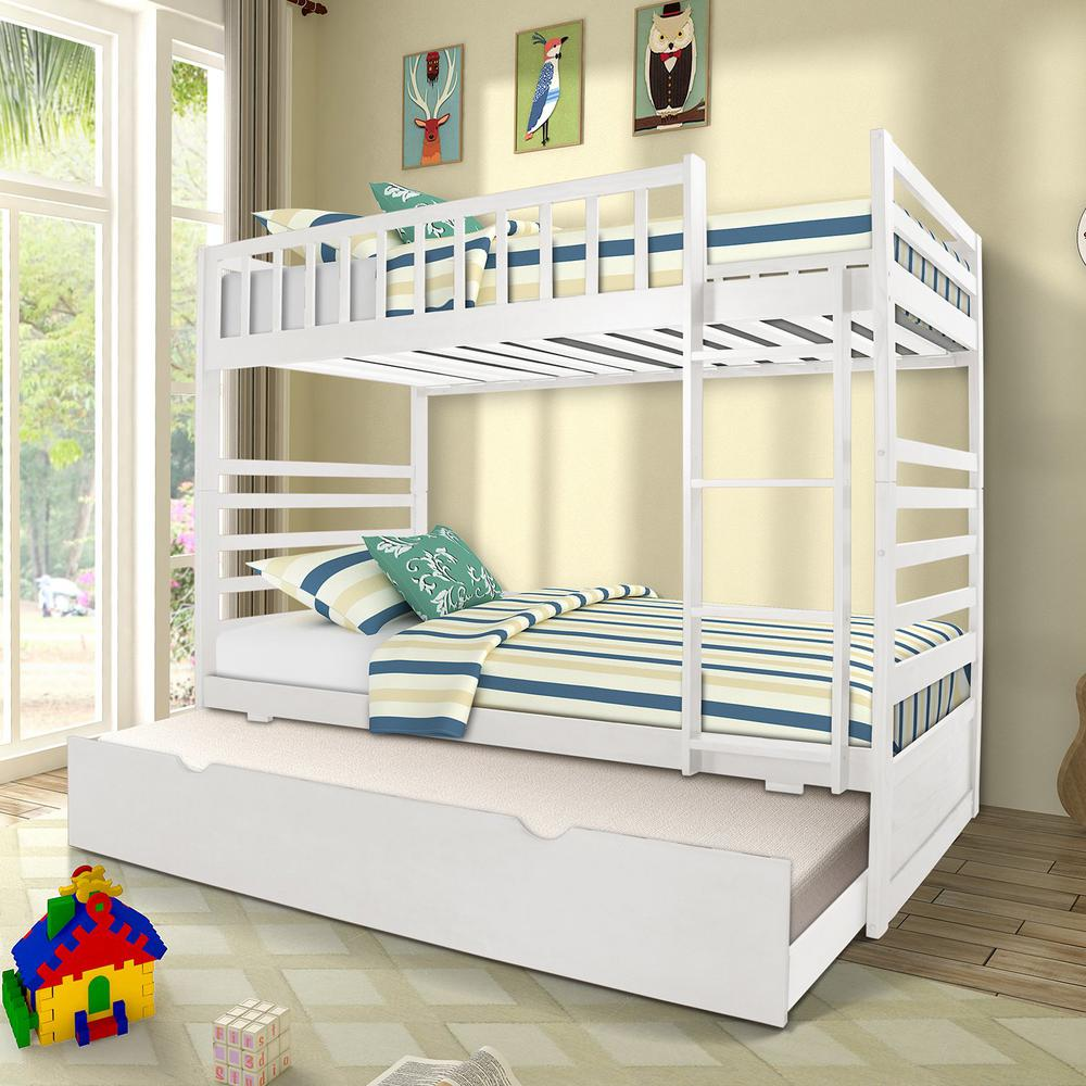 Merax White Twin Over Twin Solid Wood Bunk Bed With Trundle Bunk