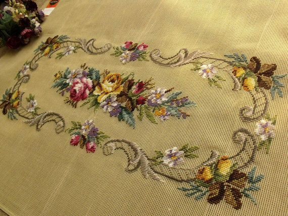 35 x 22 PREWORKED Needlepoint Canvas Piano Bench