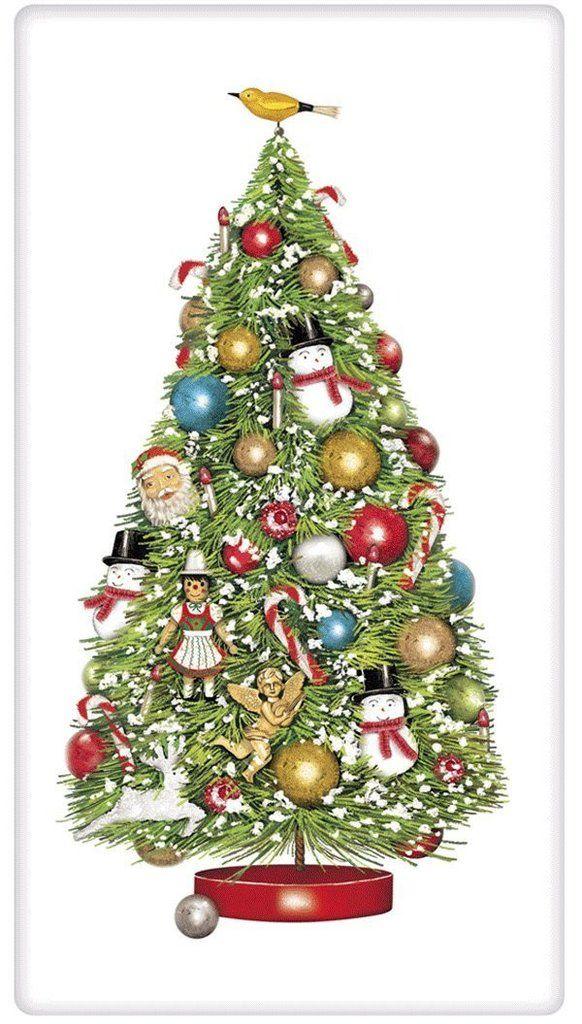 Old World Christmas Tree 100 Cotton Flour Sack Dish Towel Tea Towel Old World Christmas Christmas Tree Vintage Christmas
