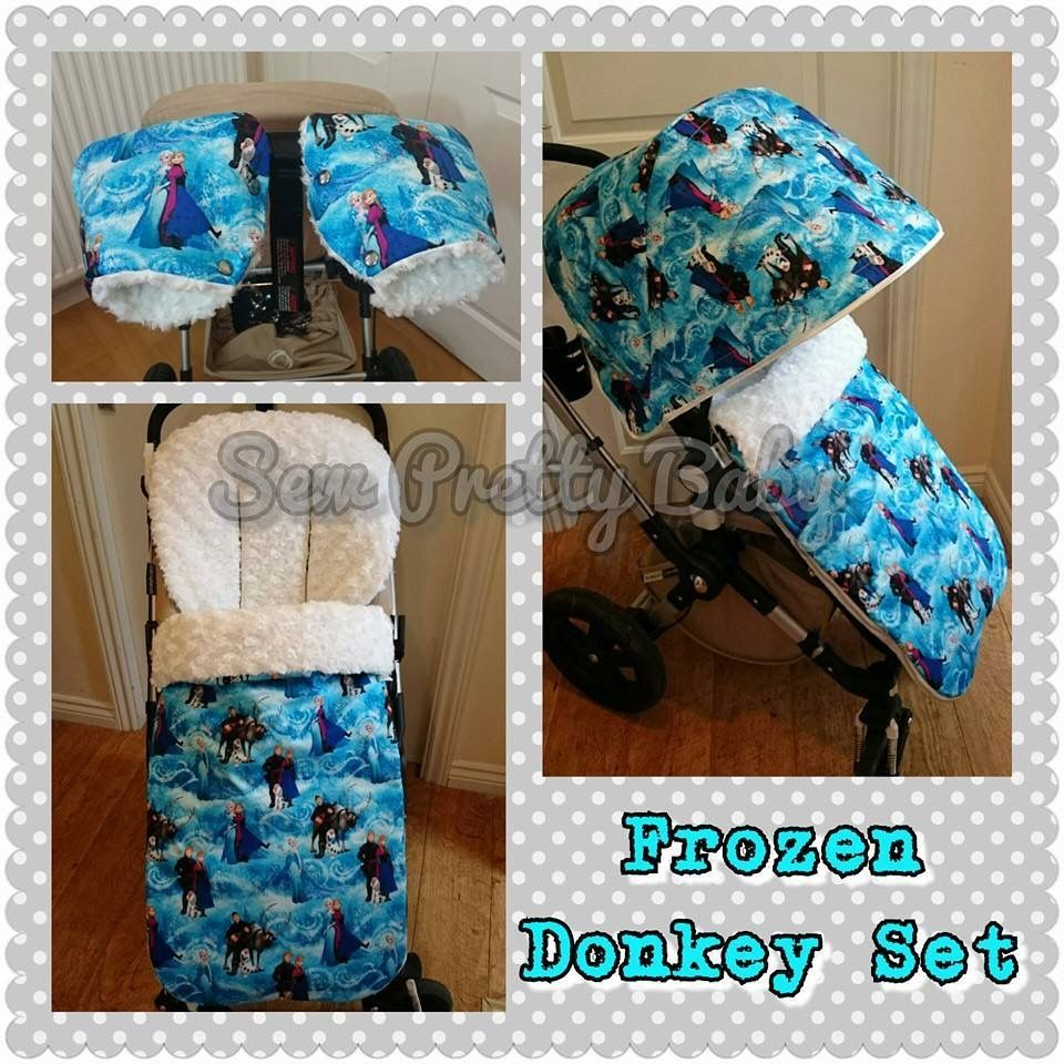 Sew pretty baby pushchair handmuffs, hood and footmuff made in a gorgeous frozen fabric