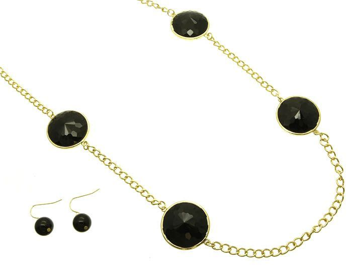 Necklace And Earring Set Link Metal Faceted Lucite Bead 38 Inch Long
