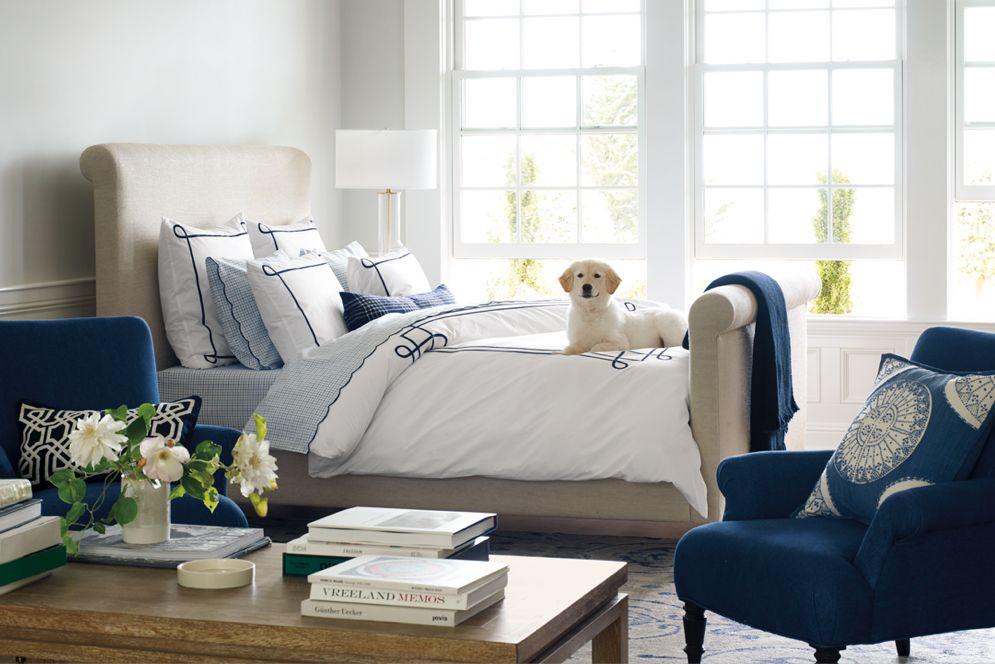 Navy White Tan Master Bedroom Upholstered Bed Light Blue