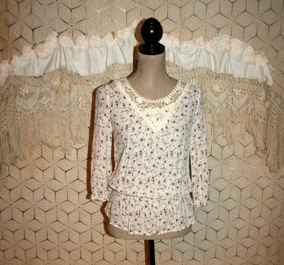 Shabby Boho Top Brown Floral Blouse Gauze Hippie by MagpieandOtis