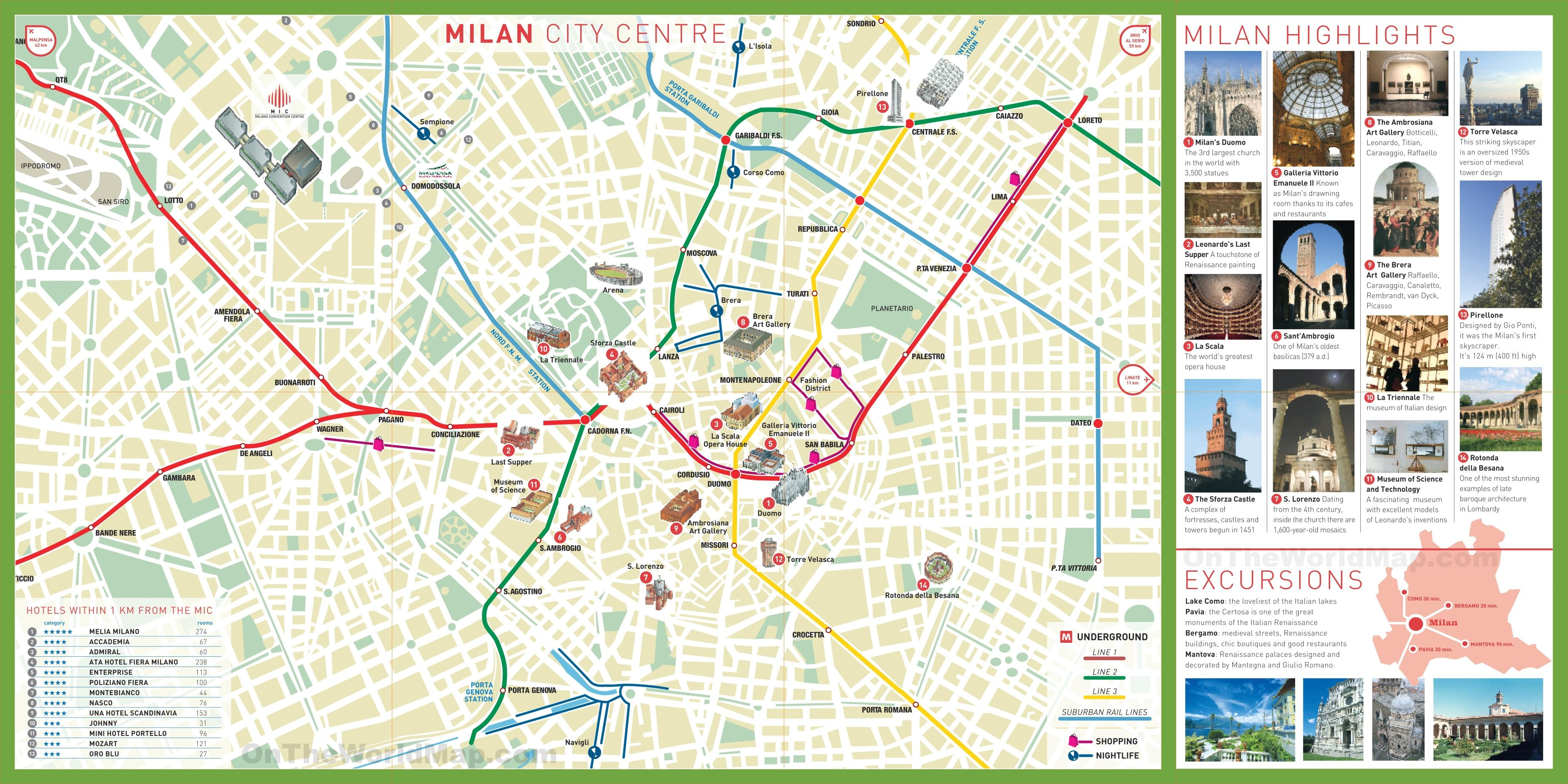 Milan Map Of Italy.Milan Tourist Attractions Map Milan In 2019 Milan Tourist