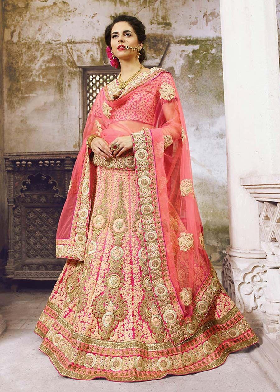 1081409222 Pink Lehenga Choli, Georgette Lehenga Choli, $304.74. Buy latest Lengha  choli with custom stitching and worldwide shipping.