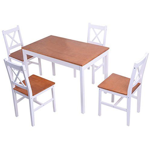 Giantex 5PCS Pine Wood Dinette Dining Set Table And 4 Chairs Home Kitchen  Furniture