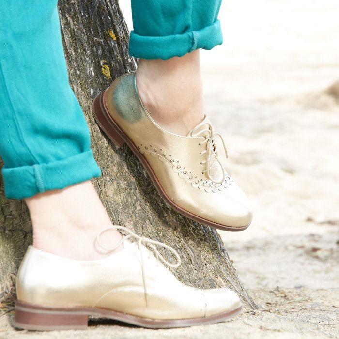 21ecb86ee0e3a3 Derby platine en cuir lisse avec détail dentelé sur le dessus | △ MADE IN  FRANCE SS18 | Chaussure derby femme, Derby femme et Chaussures Femme