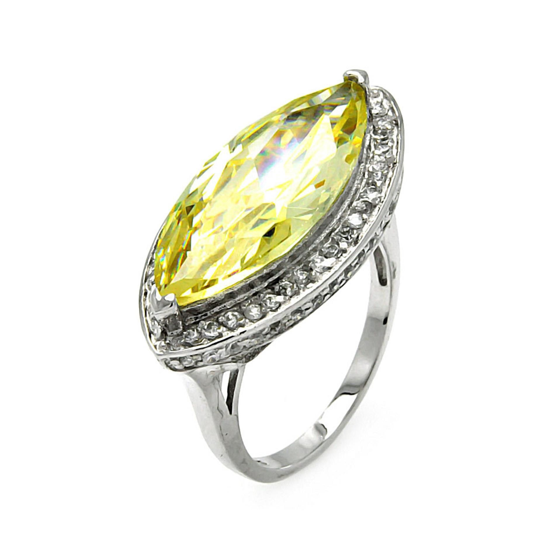 925 Sterling Silver Ladies Jewelry Yellow Cat Eye Cubic