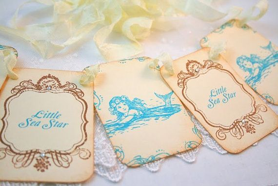 Mermaid Banner Garland Vintage Style Decoration Baby Shower Birthday Party on Etsy, $16.25