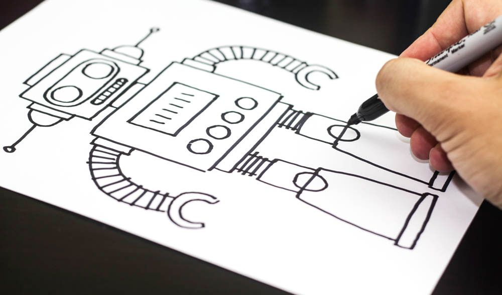 How To Draw The Coolest Robot Square Art Project For Kids