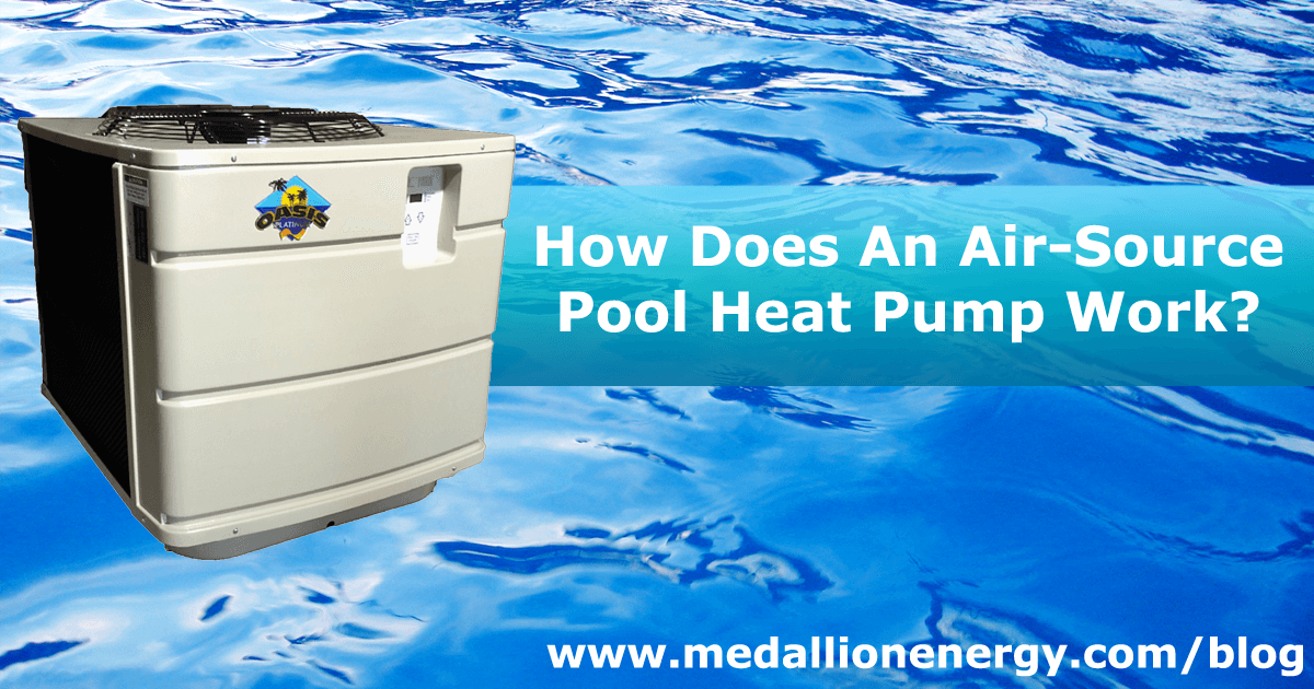 """How Do Air-Source Pool Heat Pumps Work?   If you're tuned into the world of pool heating, then you've likely heard some buzz about air-source pool heat pumps before. In essence, they are just one of the many pool heater types (electric, gas, solar, etc.) available to consumers – but you're probably wondering what makes them different from other pool heat pumps, and more so what exactly """"air-source"""" is. Well, prepare to be enlightened!"""