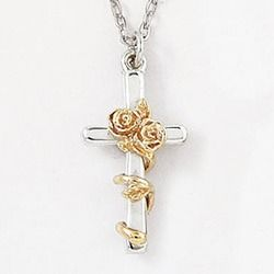 Two tone rose cross sterling silver pendant the catholic company two tone rose cross sterling silver pendant the catholic company mozeypictures Image collections