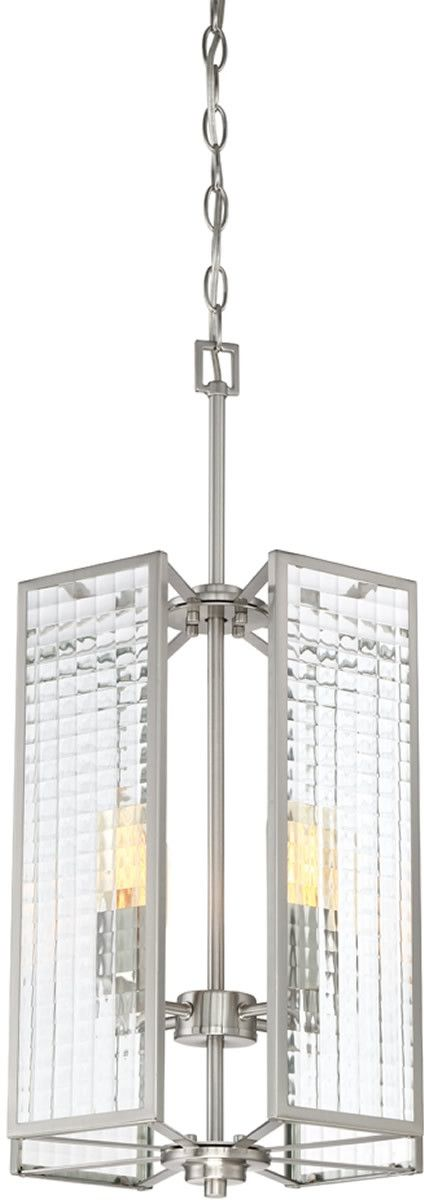 This Pivot 4-Light Chandelier by Designers Fountain features a Satin Platinum finish, which will illuminate and decorate your room elegantly.