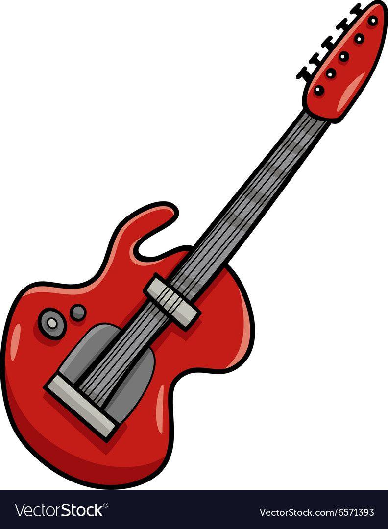 Electric guitar cartoon clip art vector image on