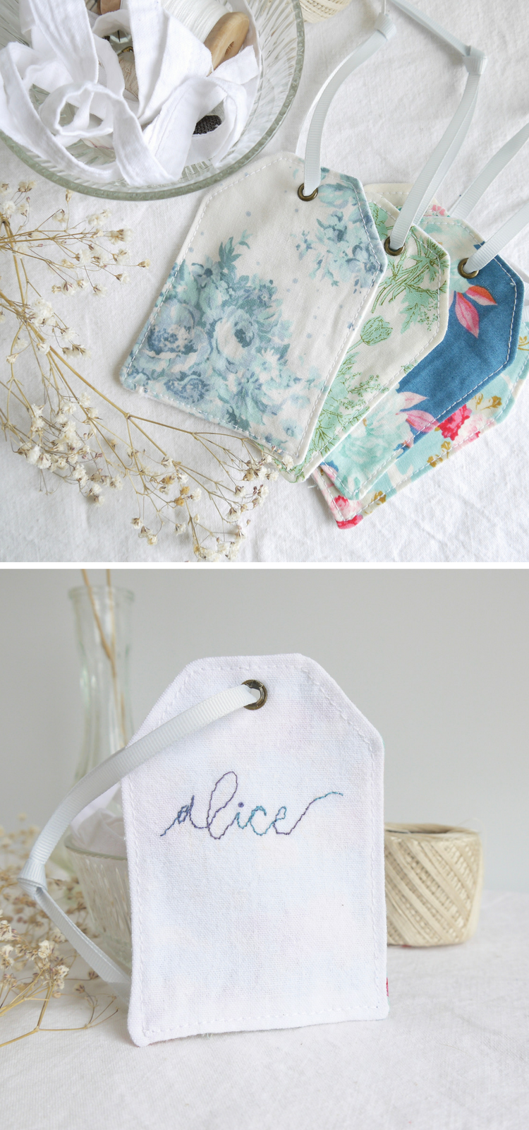 Fabric gift tags with personalised embroidery, perfect for shabby ...