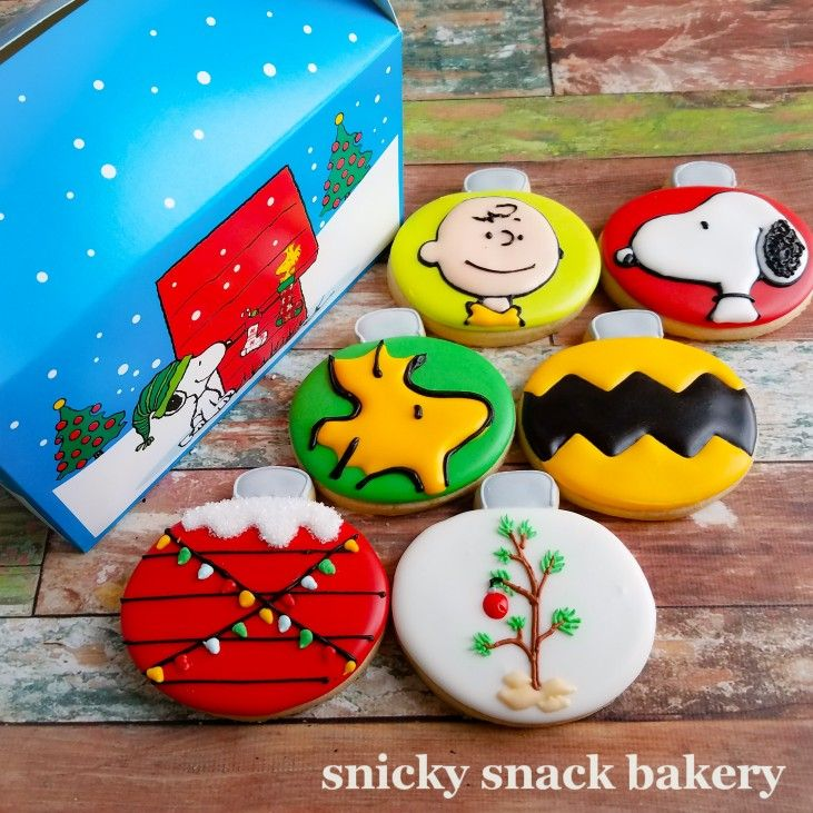 Charlie Brown Christmas Cookie Box Set 6 Cookies Shown In Photo And