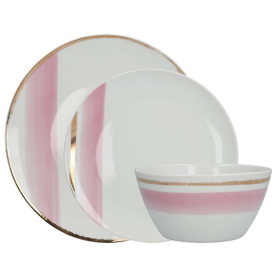 Blush Pink And Gold 12 Piece Dinner Set Dunelm