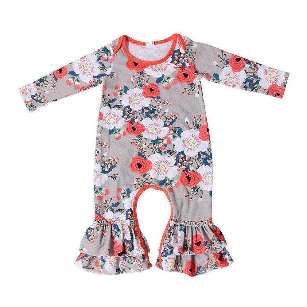 38a932d30176 Newborn Infant Baby Girl jumpsuit Romper Cotton print Long Sleeve 69 ...