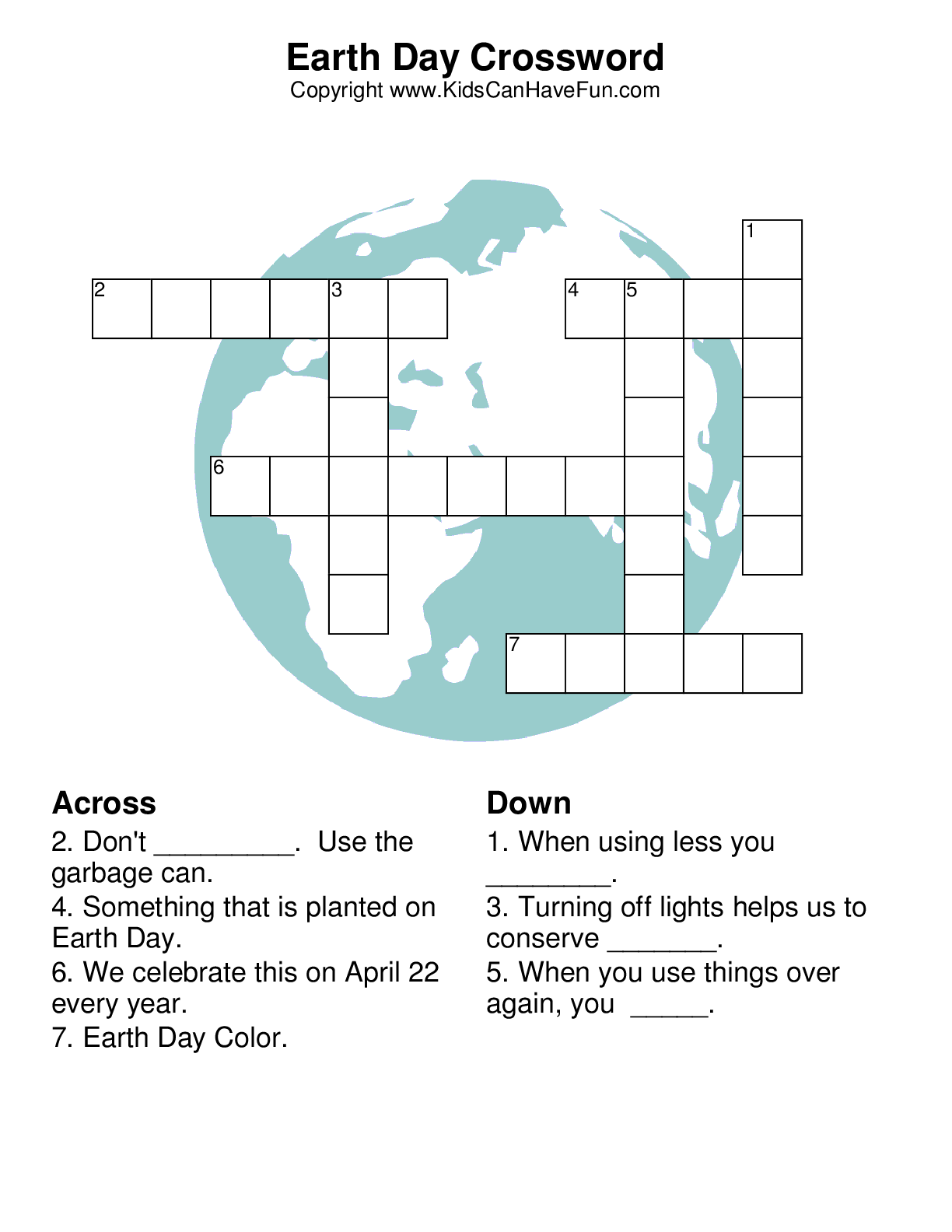 Earth Day Crossword | Arbor/Earth Day | Pinterest | School and ...